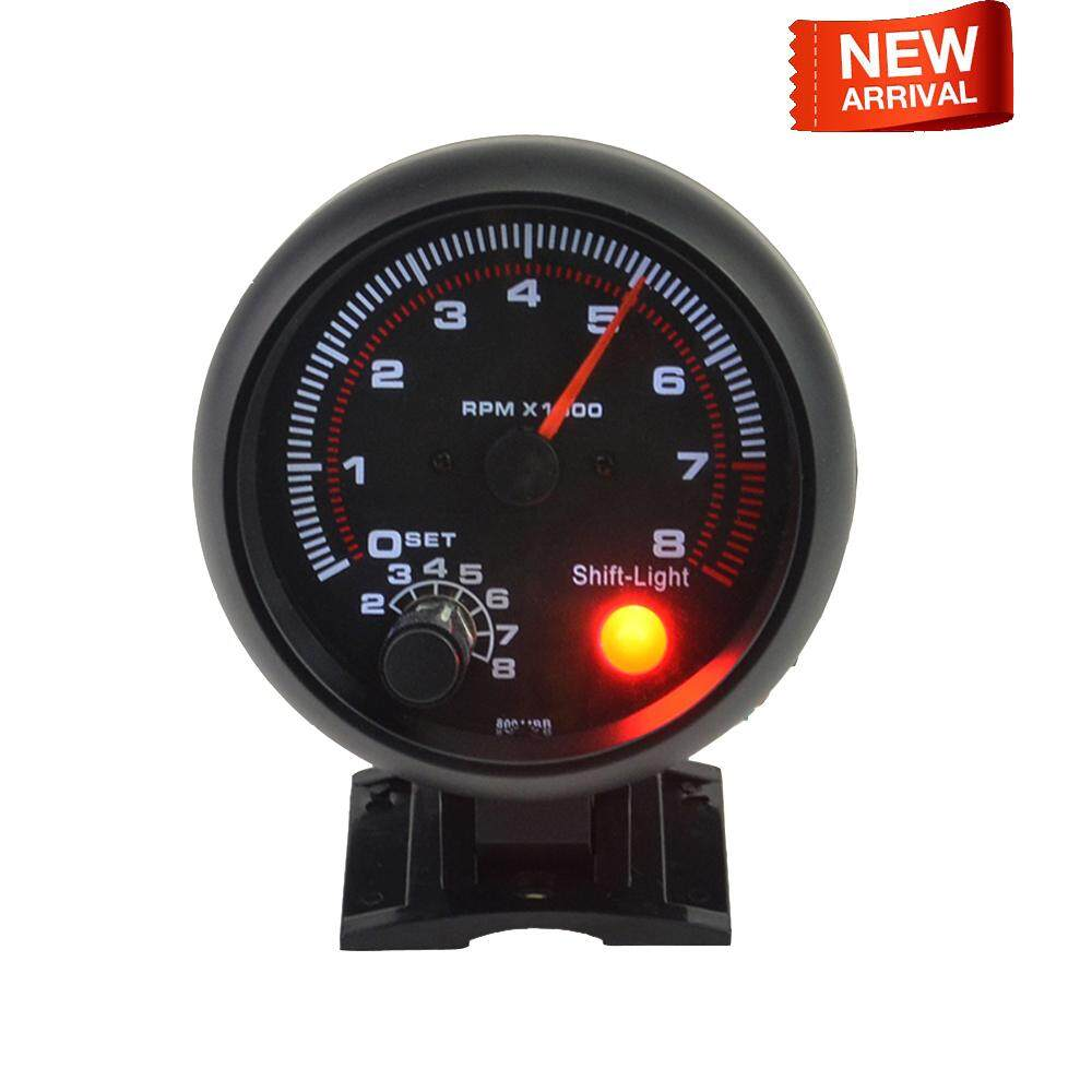 Universal Car Tachometer Gauge White Inter Shift Light 0-8000 Rpm 3.75 Inches By Sent Store.
