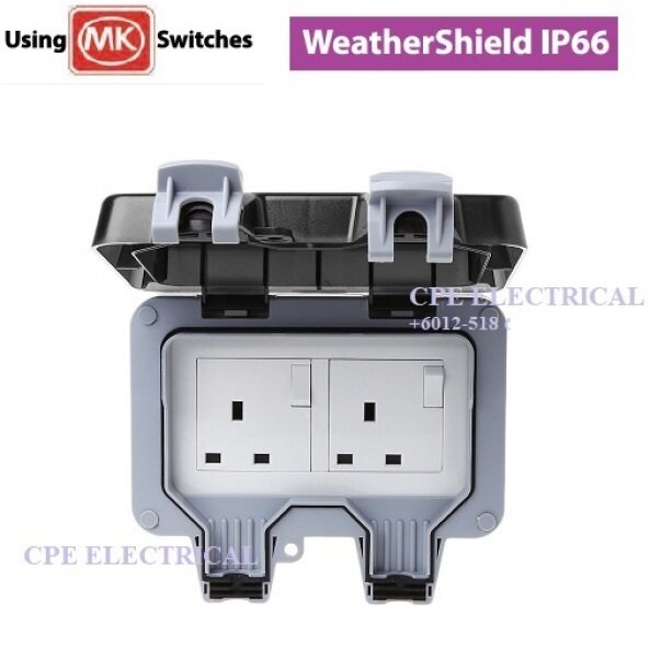 13A 2 Gang Outdoor Wall Switch Socket IP66 Weather Proof Power Outlet
