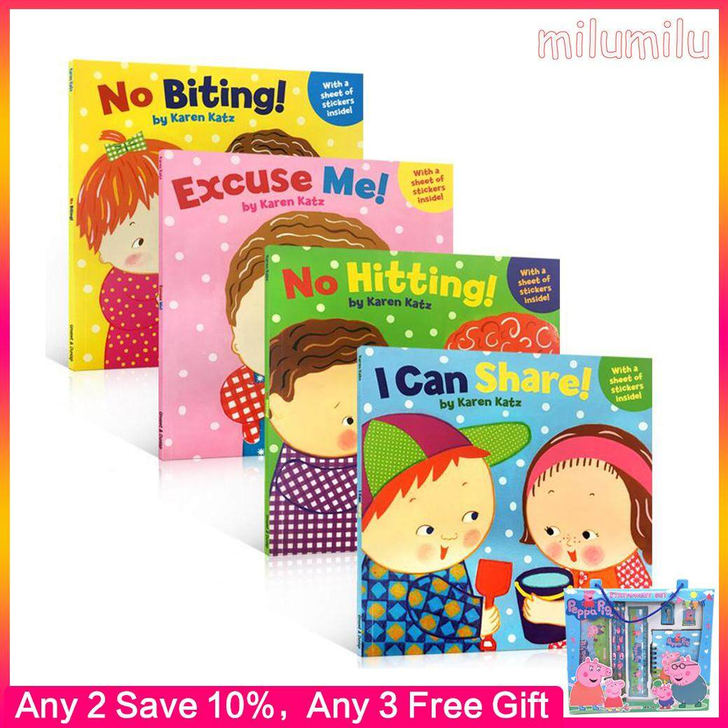 4Pcs Good Manners Picture Books for Early Childhood Education Karen Katz No Bitting/Hitting/Excuse Me/I Can Share Social Life Good Habit of Emotional Management