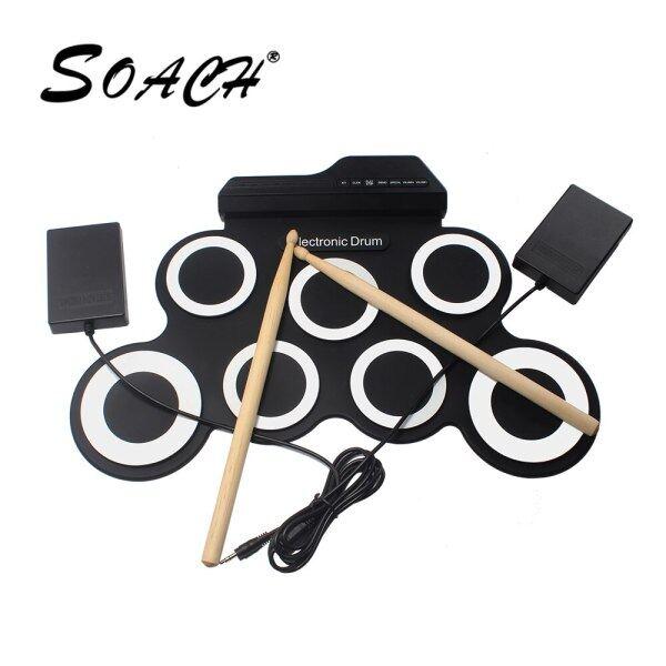 7 Pads Xách Tay Kỹ Thuật Số USB Hand Roll Drum Có Thể Gập Lại Silicone Trống Điện Tử Với Drum Sticks Điện Nhạc Cụ Muscial