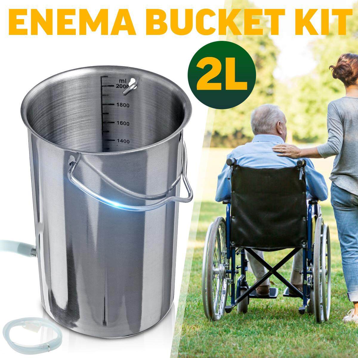 2L Stainless Steel Reusable Enema Colonic Irrigation Bucket Detox Barrel Douche
