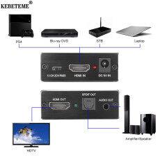 Kebeteme Bộ Giải Mã Âm Thanh HDMI Hỗ Trợ 4K X 2K Để Toslink Optical SPDIF + 3.5 Mm Âm Thanh Stereo Bộ Chuyển Đổi Trích Xuất HDMI Bộ Chia Âm Thanh
