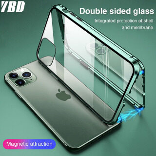 YBD Double Sided Glass case For iPhone 11 11 pro 11 Pro Max SE 2020 Phone Casing for X XR XS Max 8 7 Plus 360 Full Cover Magnetic Adsorption Metal Frame handphone Casing thumbnail