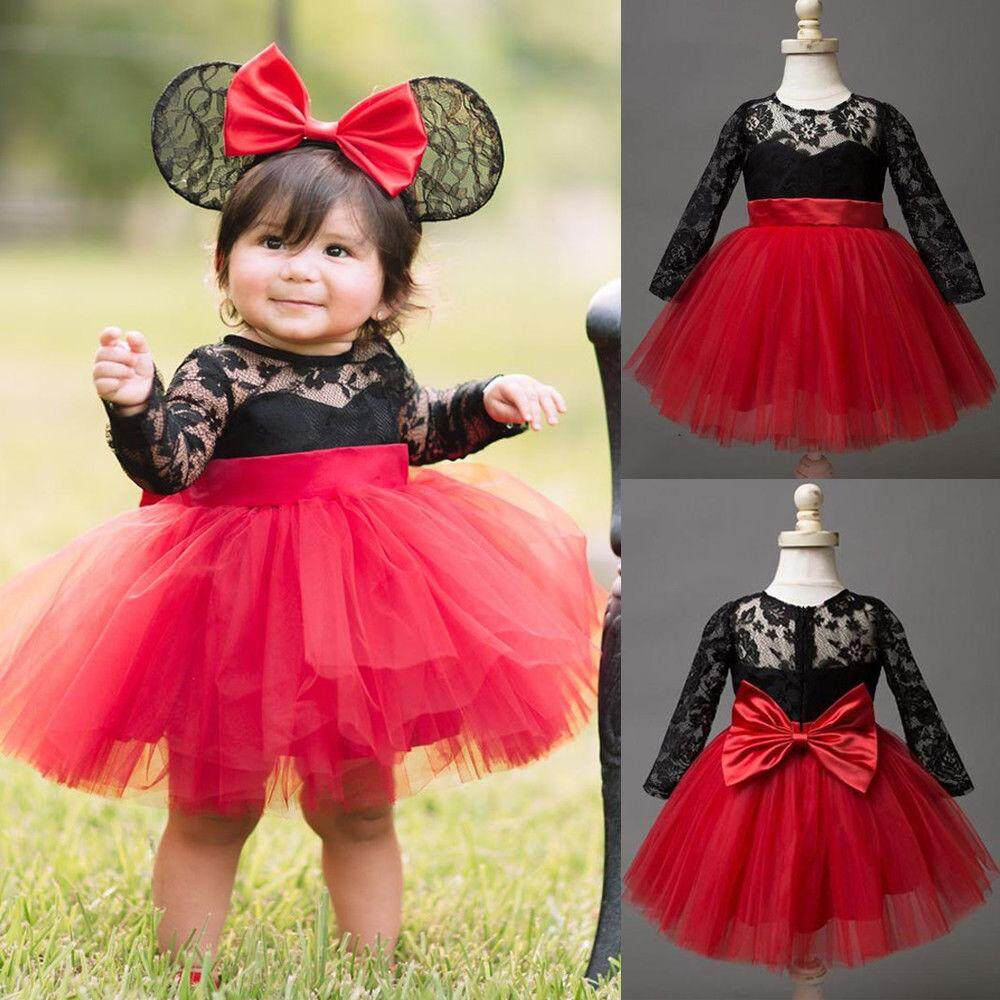 be8445459f07b Princess Kids Baby Girls Lace Flower Dress Bow Tulle Tutu Party Dresses  Clothes