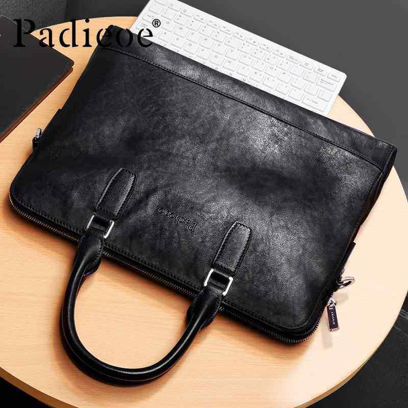 AirBuy Padieoe Genuine Leather Mens Laptop Portfolios Bag Business Travel Men Briefcase Fashion Male Shoulder Maleta 14 inch Notebook