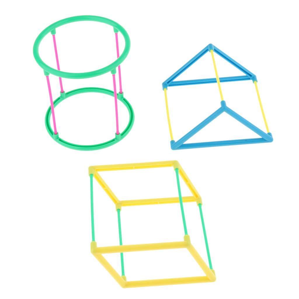 BolehDeals Box of Plastic Geometric Model Building Toys 3-D Shapes Math  Manipulatives