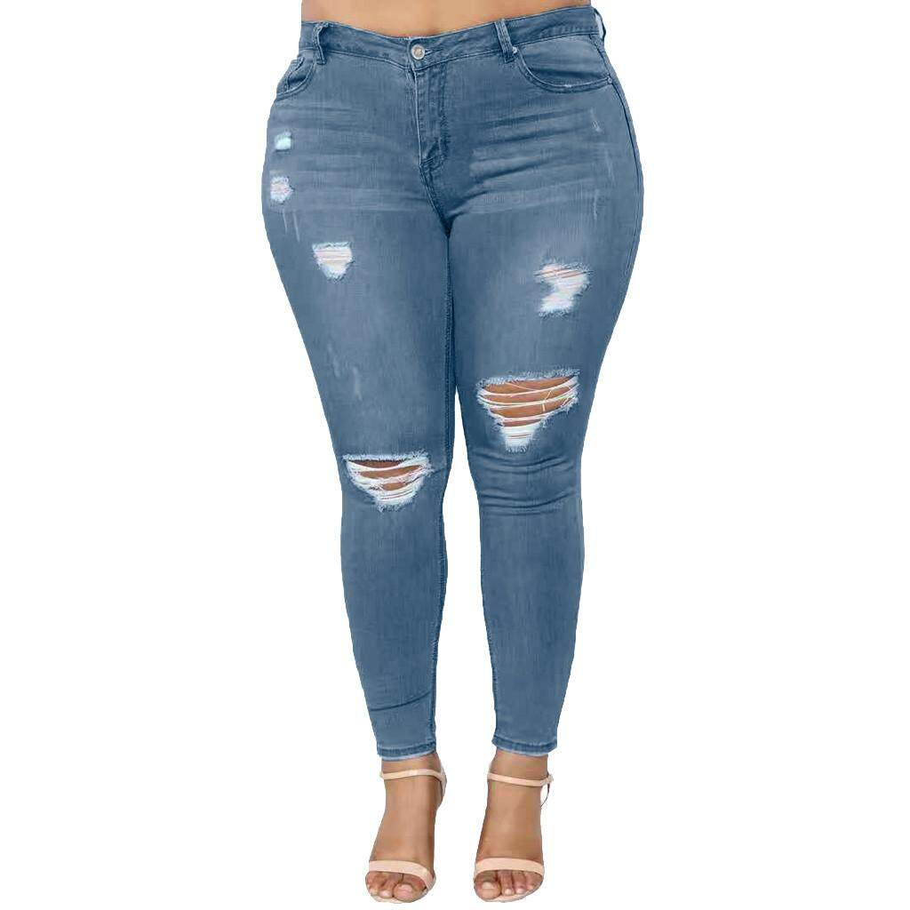 Active Plus Size Skinny Capris Jeans Woman High Waisted Jeans Female Summer Stretch Skinny Knee Length Denim Pants Bottoms Women's Clothing