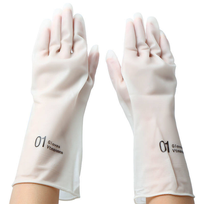 Dishwashing gloves female thin waterproof rubber kitchen durable rubber plastic laundry clothes household brush a bowl artifact