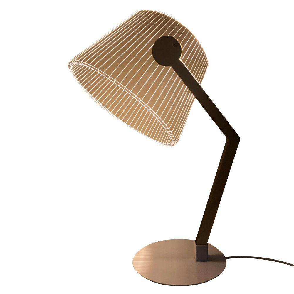 GUO 3D Effect Stereo Vision LED Desk Lamp Wood Support Acrylic Lampshade LED Light Living Room Bedroom Reading Lamp With USB Plug