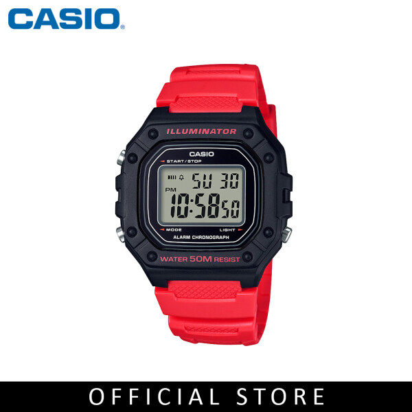 Casio General W-218H-4B Red Resin Band Youth Men Watch Malaysia