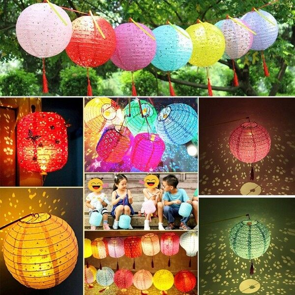 Bảng giá Lễ Hội Trung Thu Tự Làm, Đèn Lồng Giấy LED Cầm Tay Trang Trí Đèn Lồng Rỗng
