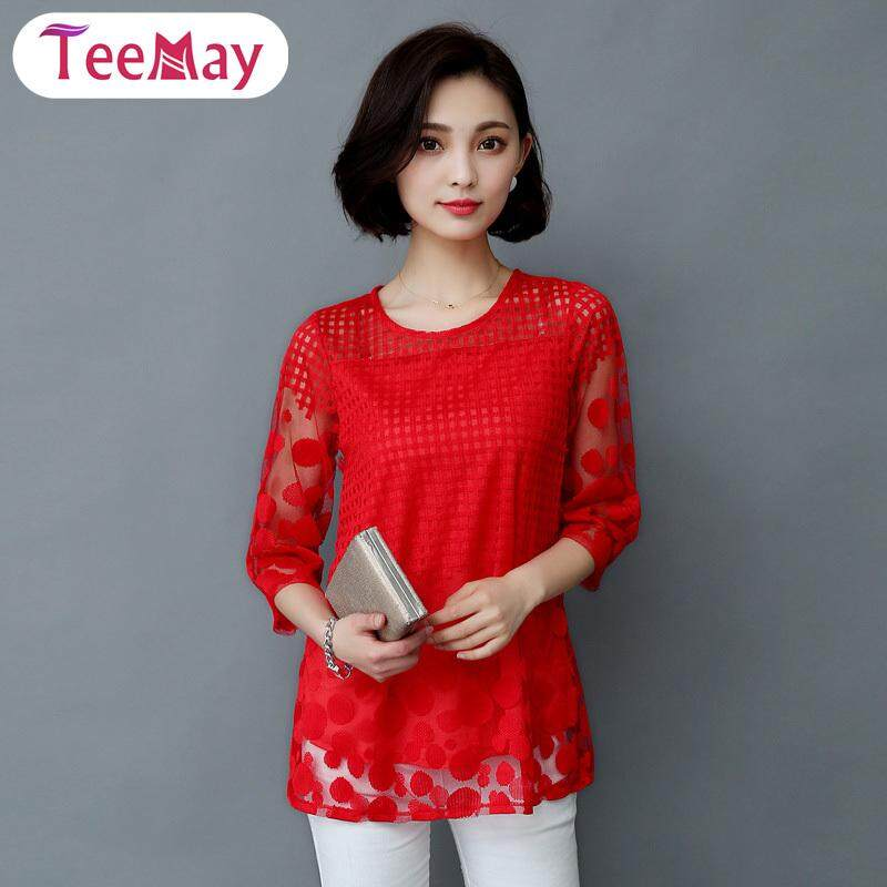 8bb6df6854056f Teemay Fashion Women 3/4 Sleeves Lace Blouse Hollow Summer Loose O-Neck Mesh