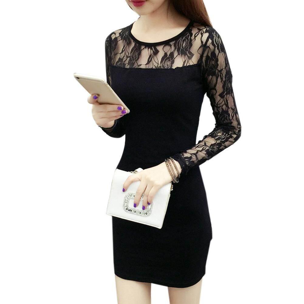 a7d989384de Fashion Women Lady Long Sleeve Lace Dress Round Neck Solid Color Dress