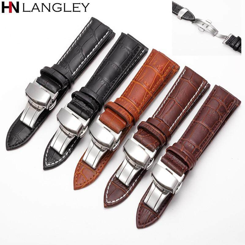 18mm 20mm 22mm Size Mens Womens Watchbands Leather Strap Watch Band Foldable Clasp Watch Strap Accessories Wristbands 12/13/14/15/16/17 mm Malaysia