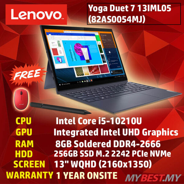 LENOVO YOGA DUET7 13IML05 82AS0054MJ (GREY) LAPTOP (INTEL CORE I5-10210U/ 8GB DDR4 / 256GB SSD / INTEL UHD 13.3 WQHD TOUCH PEN / 1 YEAR PREMIUM WARRANTY) Malaysia