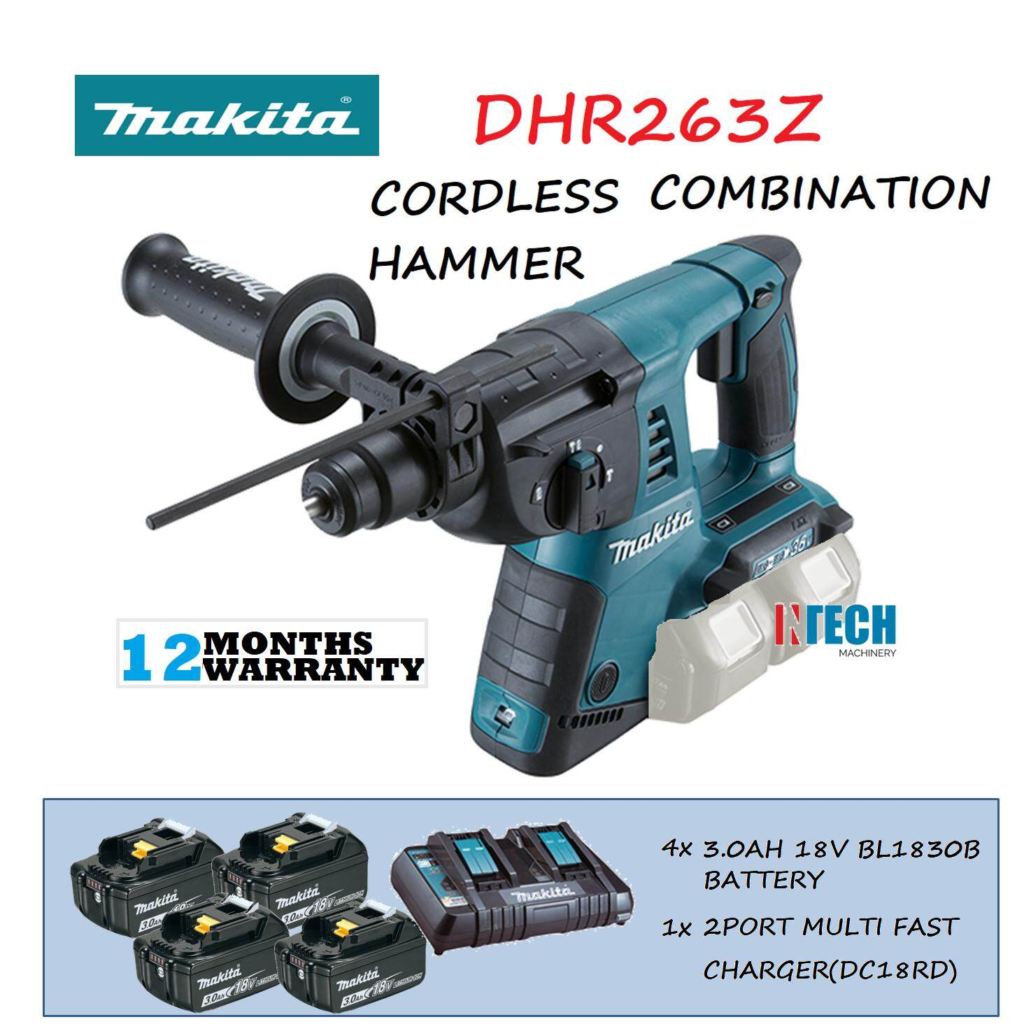 MAKITA DHR263Z CORDLESS COMBINATION HAMMER C/W 4x3.0AH BATTERY(BL1830B)+1x 2PORT MULTI FAST CHARGER(DC18RD)