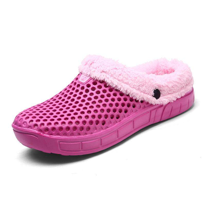 22c6fd3a2267 Fashion 2019 Women Indoor Slippers Cover Heel Honeycomb Home Slippers Solid  Winter Short Plush House Women