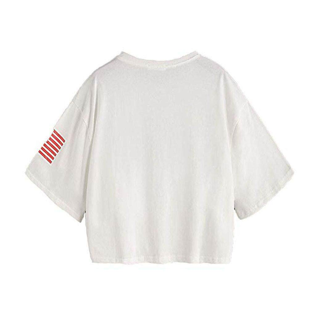 261a8442f172 YellCosmetic Women Summer Letter Flag USA Print Casual Loose Crop Tops  Short Sleeve T-Shirt