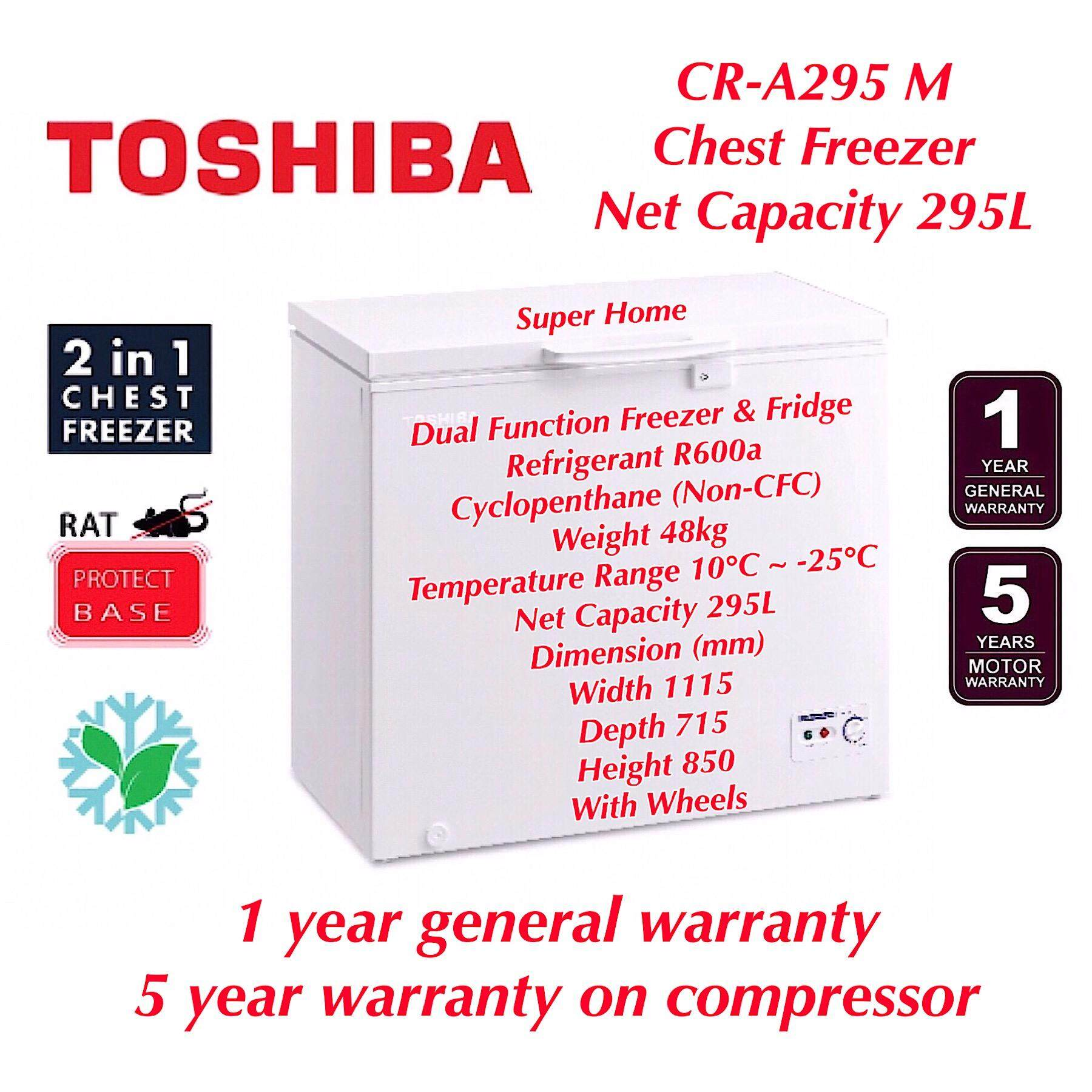 Toshiba 2 in 1 Dual Function Chest Freezer with Refrigerator mode CR-A295M - 295L