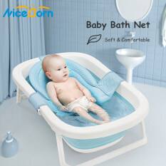 NiceBorn Lưới tắm dạng võng gắn chậu cho bé an Foldable Bath Tub Pad Adjustable Comfortable Non-Slip Baby Bath Seat Infant Safety Shower Antiskid Cushion Plastic Net Mat Baby Shower Net Bathtub Sit Up Mesh for Newborn