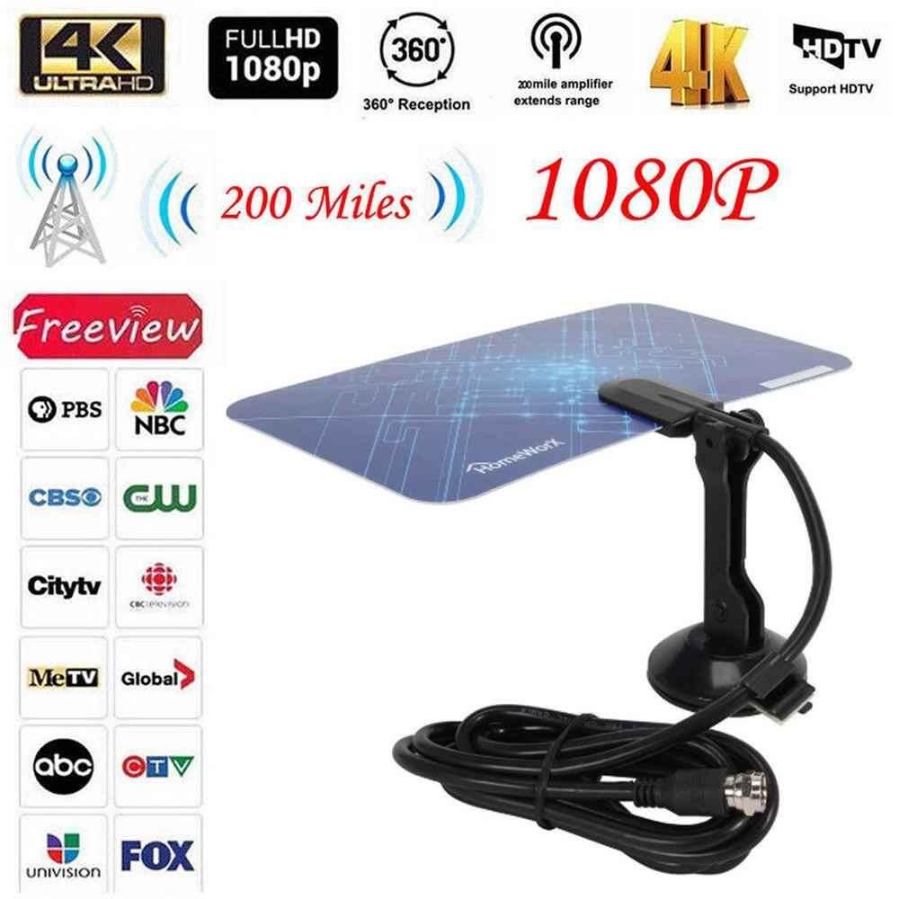 Quẹo 200 Dặm HDTV Ăng Ten Trong Nhà Tăng Cao HD CAMERA DTV Hộp TRUYỀN HÌNH Kỹ Thuật Số Ăng Ten Tăng Áp Hoạt Động HD Thiết Kế Phẳng