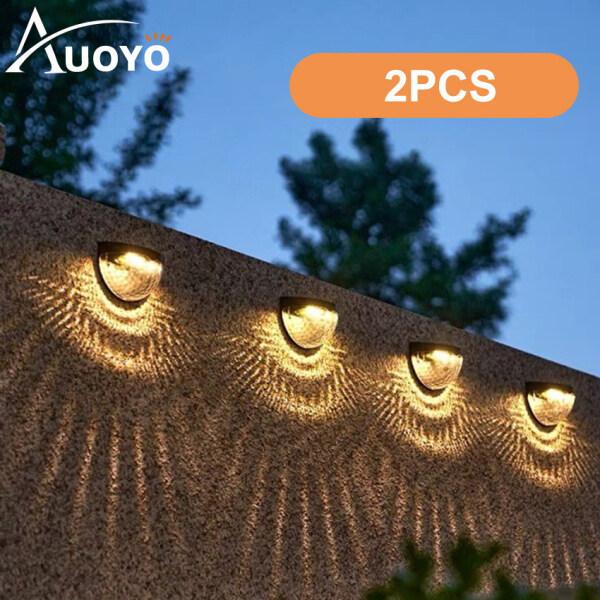 Auoyo 2pcs Garden Solar Step Lights LED Deck Light Waterproof Outdoor Lighting Semicircle Wall Lights Door Side Garden Stairs Balcony Floor Fence Landscape Lamp with Mount Tools