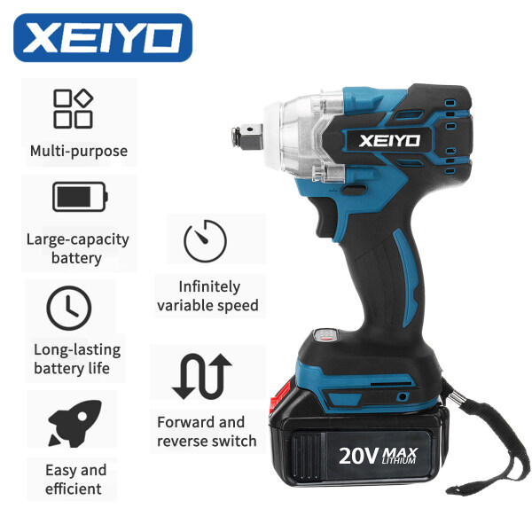 XEIYO Cordless Impact Wrench 280Nm Torque Brushless Motor 1/2 Inch Quick Chuck 20V B-attery with Fast Charger Variable Speed Multifunction Impact Wrench