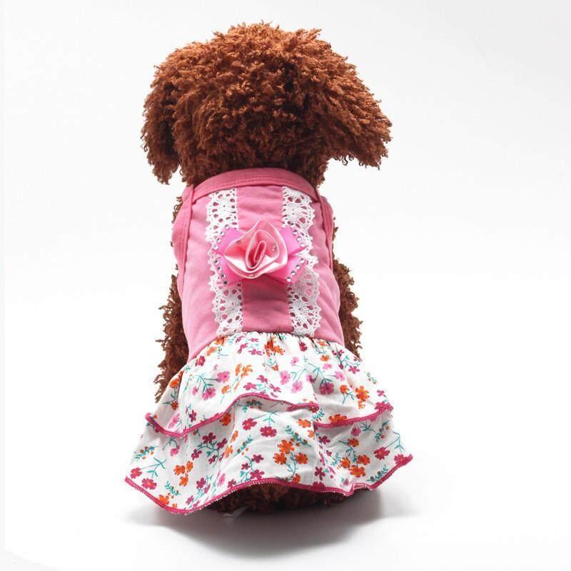 Váy công chúa ren hoa cho chó, váy xòe đính pha lê lấp lánh cho thú cưng