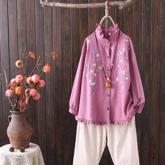 Plus Size XL-4XL Women's Embroidery Blouse Linen Long Sleeved Vintage Blusas Casual Tops