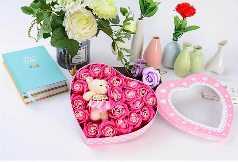 18 Pcs Simulasi Mawar Merah Biru Ungu Sabun Bunga + Kecil Mainan Beruang dengan Hadiah Cinta