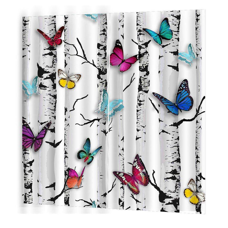 Best Sellers Colorful Tree Butterfly Curtain Cute Living Bedroom 3d Wolf Curtain 170*200cm Trendy Living Room Bedroom Blackout