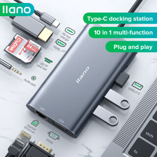 LLANO Hub 10 Trong 1 Type-C, Trạm Nối Bộ Chia Bộ Chuyển Đổi PD Cổng Mạng VGI HDMI Mở Rộng USB-C Dành Cho Apple Mac Huawei Máy Tính Xách Tay Thunderbolt 3 Chuyển Đổi thumbnail