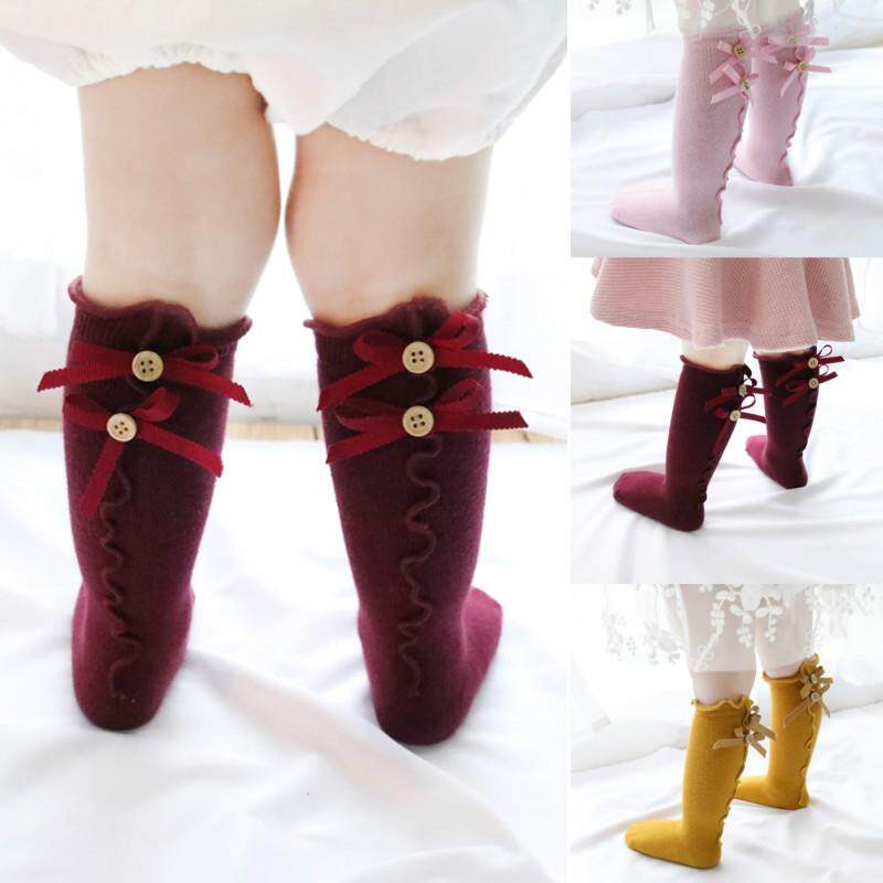 Baby Girls Socks Long Soft Cotton Lace Knee High Sock Bowknot Mid-Tube Stockings