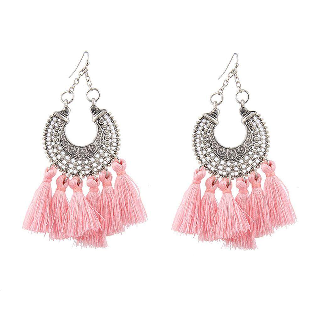Beautier Women Bohemian Alloy Multi-Colored Tassel Earrings Simple Temperament Earrings By Beautier.