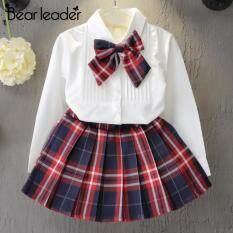 Bộ Áo Váy Công Chúa Bear Leader Cho Bé Gái, Áo Phông Dài Tay Kèm Nơ Kẻ Sọc + Váy Kẻ Sọc Trang Phục Trẻ Em Học Sinh Bộ Quần Áo 2 Món