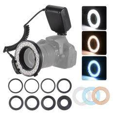 HD-130 Macro LED Ring Flash Light LCD Display 3000-15000K GN46 Power Control with 3 Flash Diffusers 8 Adapter Rings for Canon Nikon Panasonic Pentax Olympus Cameras
