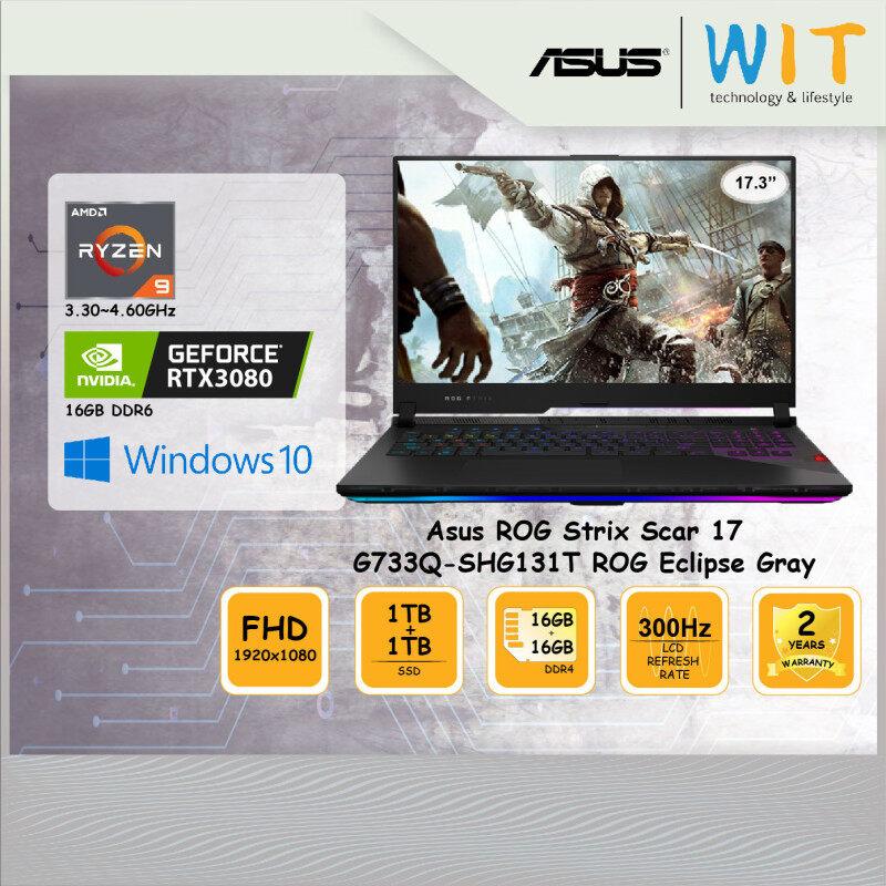 Asus ROG Laptop Strix Scar 17 G733Q-SHG131T ROG Eclipse Gray/AMD Ryzen 9 5900HX 3.30~4.60GHz/16GB+16GB DDR4 Ram/1TB+1TB SSD/17.3FHD 300Hz/NVD RTX3080 16GB DDR6 Malaysia
