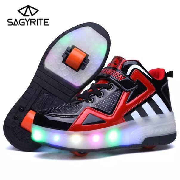 SAGYRITE Trẻ Em LED Heelys Giày Đôi Bánh Xe Lăn Sneakers Skate Nhấp Nháy Ánh Sáng Lên Giày Kích Thước 30-40 giá rẻ