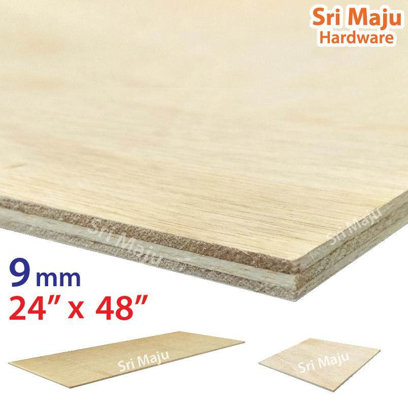 MAJU (2ft x 4ft) 9mm Plywood Timber Panel Wood Board Sheet Ply Wood Papan Kayu