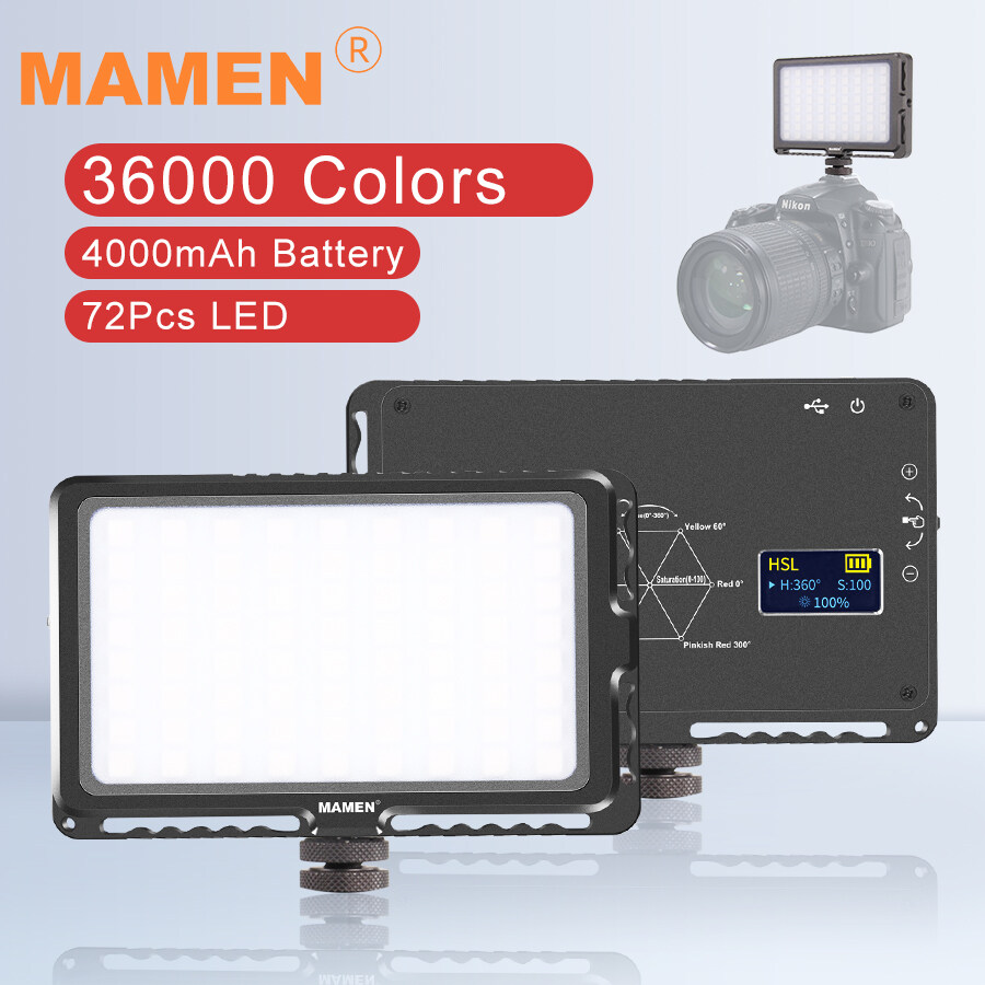 LED-72R MAMEN 4000MAh Camera LED RGB Fill Nhiếp Ảnh Ánh Sáng 1000K-9000K Có Thể Điều Chỉnh Độ Sáng 72 Chiếc Pin Sạc Li-ion Di Động Tích Hợp Trên Camera Photo Studio Ánh Sáng Lấp Đầy Màn Hình OLED Máy Ảnh DSLR Siêu Ưu Đãi tại Lazada