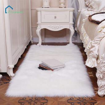ซอฟท์เทียมพรมปูพื้นเก้าอี้ปกห้องนอนเสื่อขนสัตว์เทียมอบอุ่นขนล้างทำความสะอาดได้พรมที่นั่ง