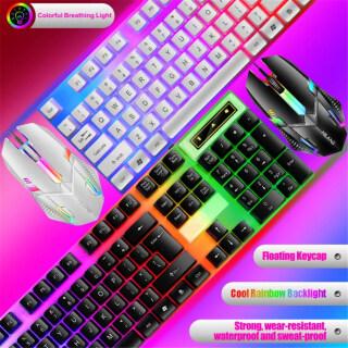 Bộ Bàn Phím + Chuột Có Dây Almun T6, Đầy Màu Sắc Sáng Backlit USB Bàn Phím Chơi Game Chuột Chơi Game Cho Máy Tính Xách Tay PC Ready Stock thumbnail