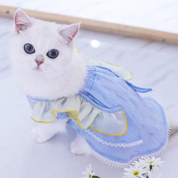Quần Áo Mèo Thú Cưng Meow Go Quần Áo Mùa Hè Mỏng Cho Chó Mèo Thú Cưng Váy Công Chúa Chống Lông Cho Mèo Con