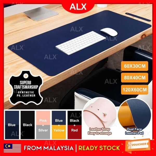 ALX Anti-Slip Dual Face Big Size Desk Pad Keyboard Mousepad Waterproof PU Leather Gaming Mouse Pad Korean Fashion Design Malaysia