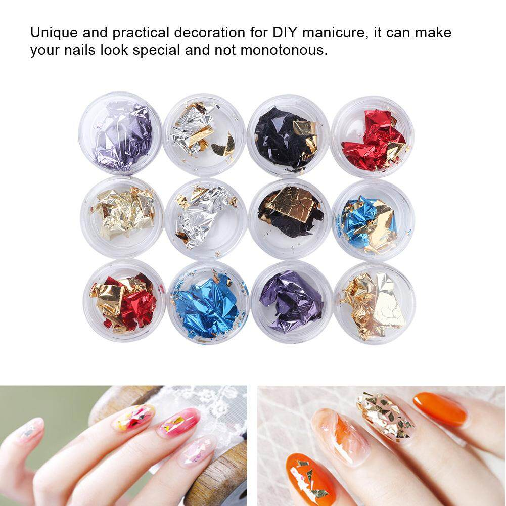 12 Grids Nail Art Colorful Foil Paper Sticker Diy Manicure Nail Decoration Glitter Sequins By Dinbaai.