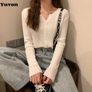Yuvon Women Autumn Long Sleeve Knitted T-shirt Top plain V-neck Cardigan for women thumbnail