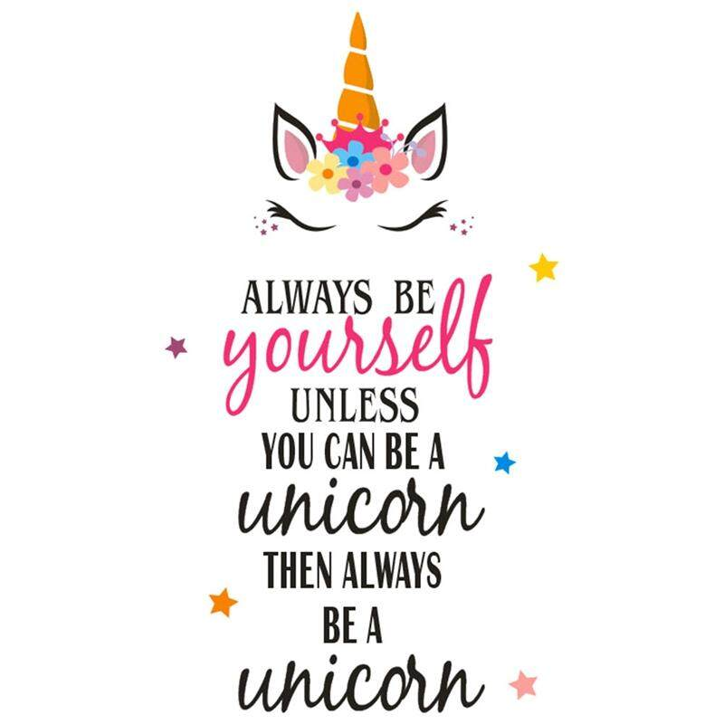 Linfang 1 Pc Cartoon Unicorn Pattern Simple English Letters Fine Wall Sticker