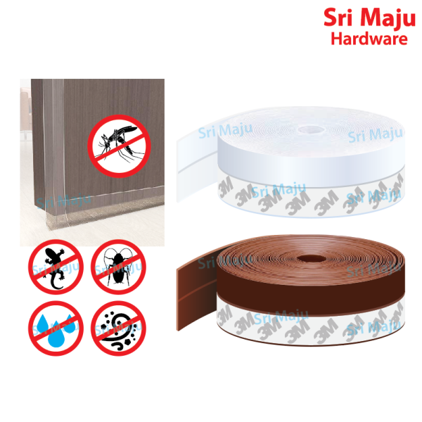 MAJU BDS-SIL 3M Self Adhesion Quality Rubber Silicone Door Bottom Window Privacy Mosquito Seal Strip Penutup Celah Pintu