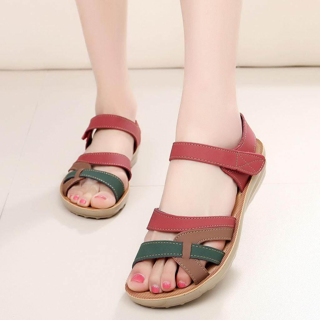 ผู้หญิงสุภาพสตรีแฟชั่นฤดูร้อนรองเท้าแตะหนัง Wedges Comfort รองเท้าขนาดใหญ่ By Globalhappystore.