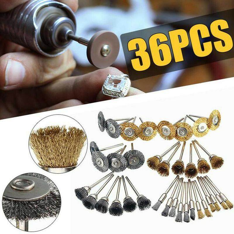 36pcs Steel Wire Wheel Brushes Drill Rotary Tools Polishing Grinder Cups Polishing Drill Bit for Rust Removal Welding Metal brush